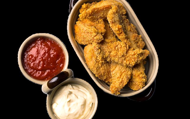 Pikantny kubełek - dla dwóch osób panierowane fileciki z kurczaka, do wyboru dwa sosy
